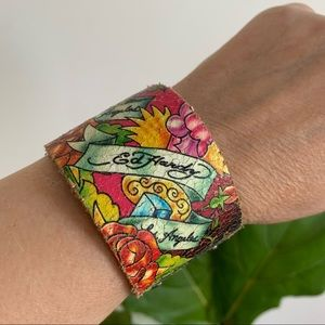 Ed Hardy Los Angeles Leather Cuff Bracelet Floral